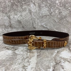 Gail Labelle Vintage Leather Gold Rhinestone Belt